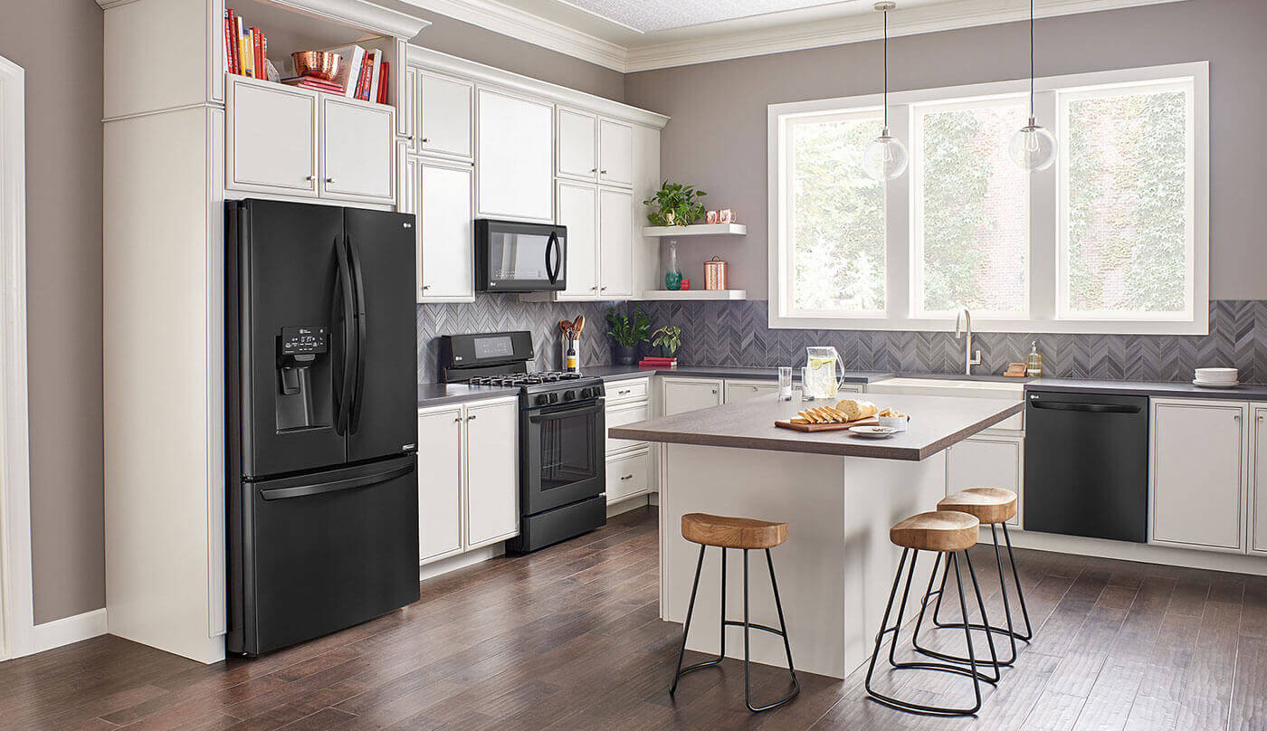 LG example of Matte Black Stainless Steel Appliances in White Kitchen